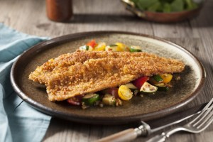 Pretzel Crusted Rainbow Trout with Vegetable Sauté and Honey Mustard Sauce