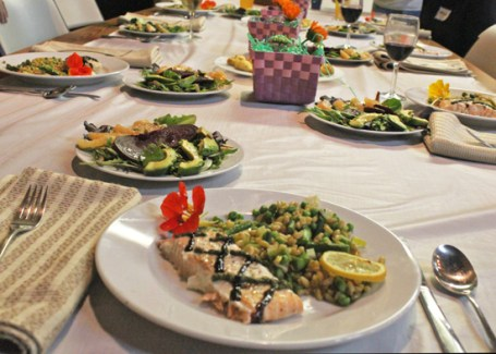 Beautifully plated salmon and kamut at our Spring Entertaining class.