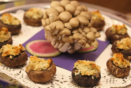 Stuffed Cremini Mushroom Caps with Pine Nuts and Goat Cheese