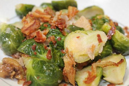 Brussells Sprouts braised with Bacon and Chestnuts