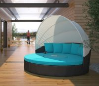 Circular Outdoor Wicker Rattan Patio Daybed with Canopy ...