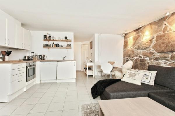 Wohnzimmer und Küche in einem Raum kombiniert - klug und praktisch - inneneinrichtungsideen wohnzimmer kuche