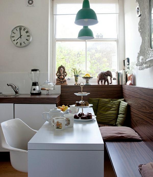 ... 50 Einrichtungsideen Für Kleine Esszimmer   Esszimmer Nische  Dachschrägenschrank ...