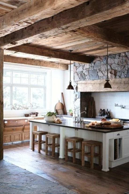 Küche Landhausstil gestalten bodenbelag arbeitsplatte Wohnzimmer - küchenideen kleine küchen