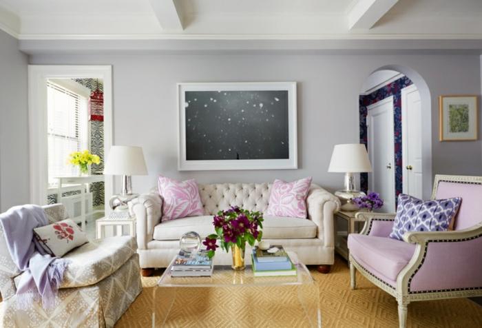 ▷ 1001+ Wandfarben Ideen für eine dramatische Wohnzimmer-Gestaltung - beispiele wandfarbe lila wohnzimmer