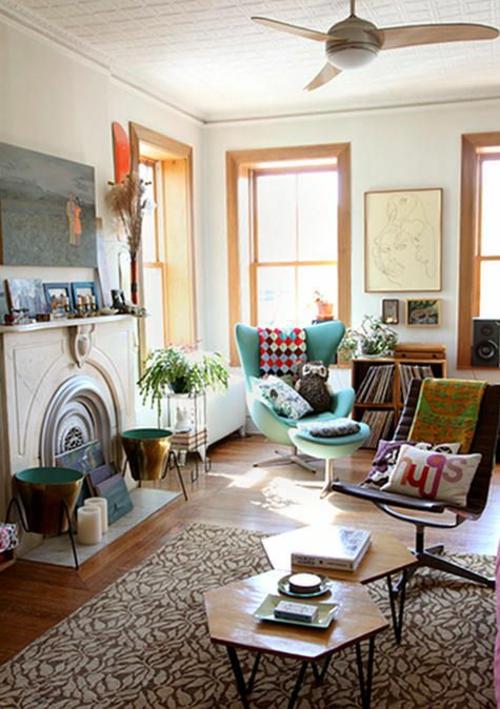 Wohnzimmergestaltung Ideen im Retro
