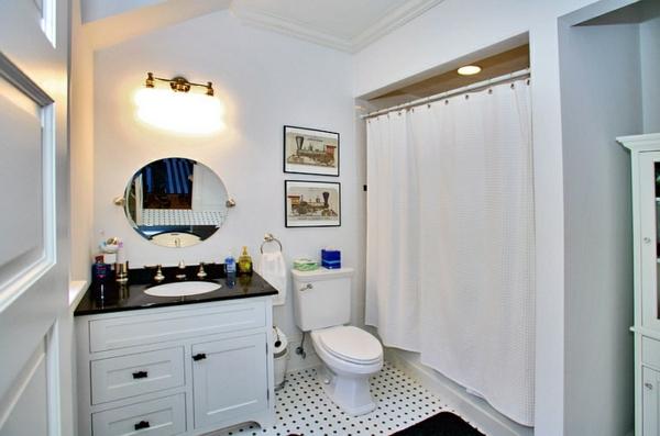 Badezimmer Ideen In Schwarz Weiß   45 Inspirierende Beispiele   Badezimmer  Gardinen Muster