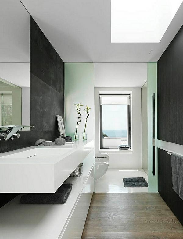 Badezimmer Ideen in Schwarz-Weiß - 45 inspirierende Beispiele - badezimmer farbgestaltung