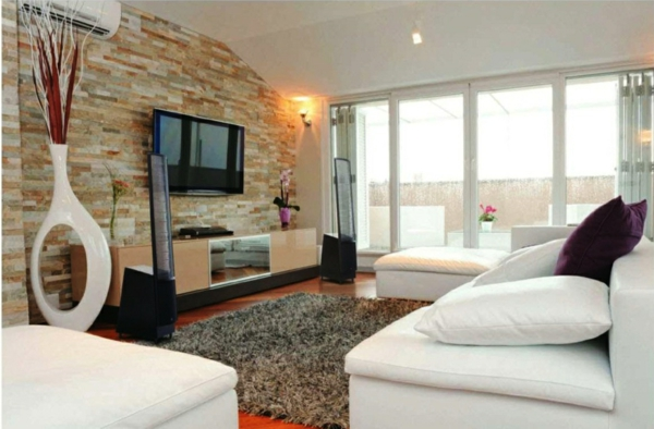 Natursteinwand im Wohnzimmer - die Natur zu Hause empfangen - gestaltungsideen wohnzimmer