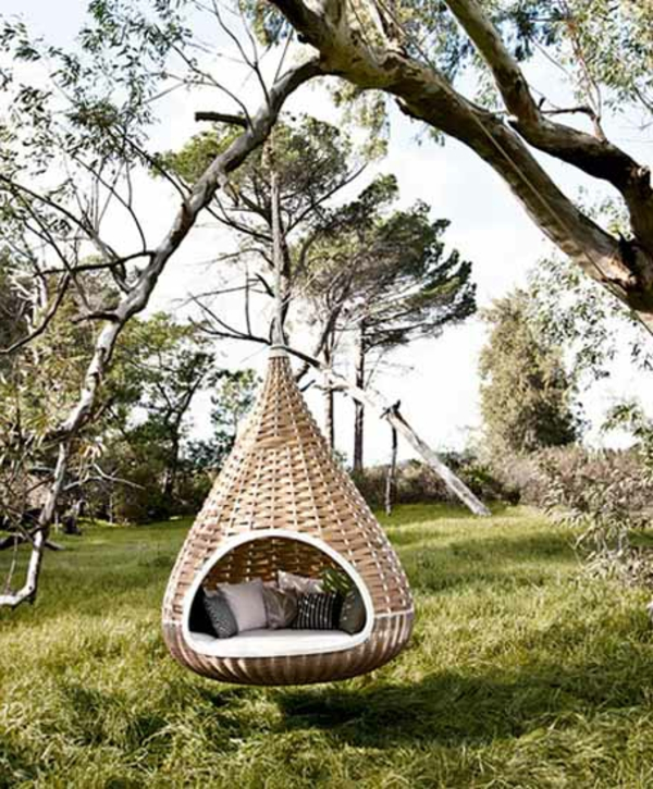 50 Korbhängesessel - coole Wohnideen für Hängesessel mit Gestell - hangesessel korb rattan