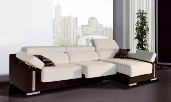 Sofa Leder Zweifarbig Chaiselongue Sofa - Komfortable Lounge Möbel