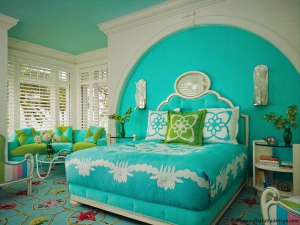 Farbideen Schlafzimmer - einflußreiche Farben und Dekoration - schlafzimmer in turkis