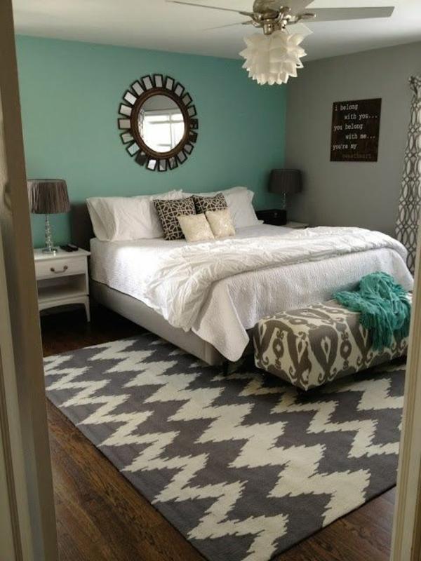 Wandfarbe Mintgrün verleiht Ihrem Wohnraum einen magischen Flair - schlafzimmer gestalten wandfarbe