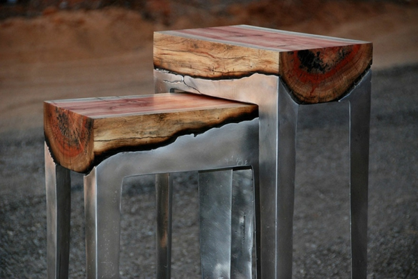 Design Tisch Holz Metall recybuche - designer tische holz metall