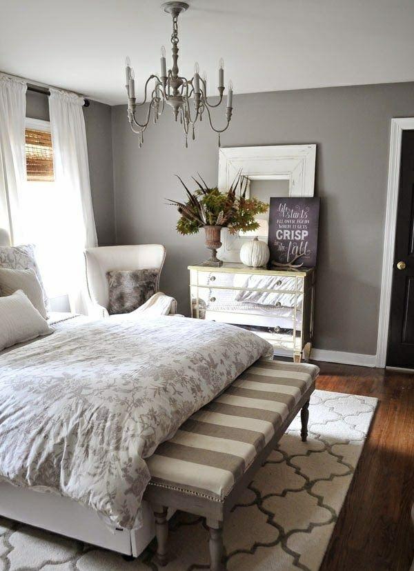 einrichtungsideen-schlafzimmer-bett-holzboden-wandfarbe-grau - wandfarbe grau