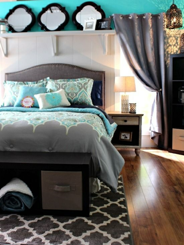 Einrichtungsideen Schlafzimmer - gestalten Sie einen gemütlichen Raum - schlafzimmer in turkis