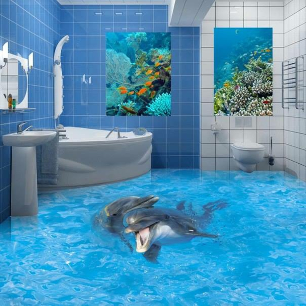 3D Bodenbelag aus Epoxidharz - innovative Technologie und Naturmotive - 3d badezimmerboden