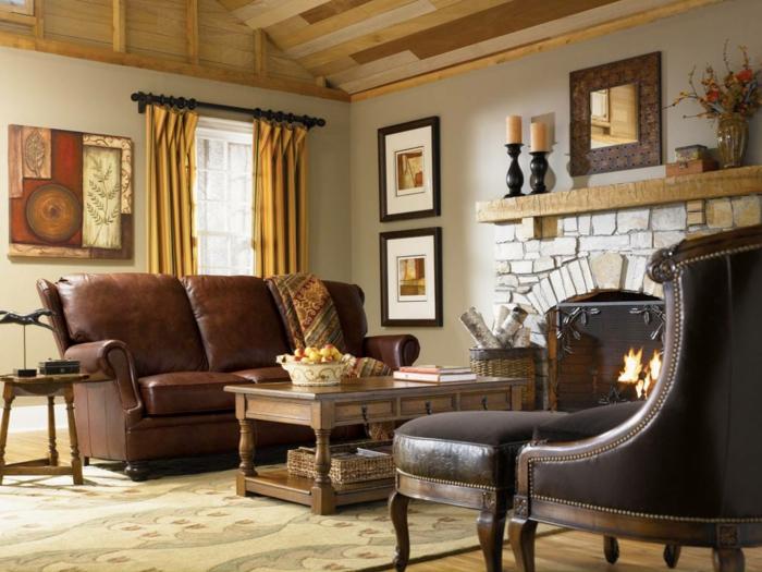 Awesome Wohnzimmer Landhausstil Braun Photos - House Design Ideas - landhausstil rustikal wohnzimmer