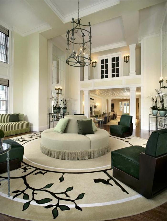 Anordnung Teppich Wohnzimmer  30 Runde Teppiche Und Beispiele Wie Man Den Zimmer Look