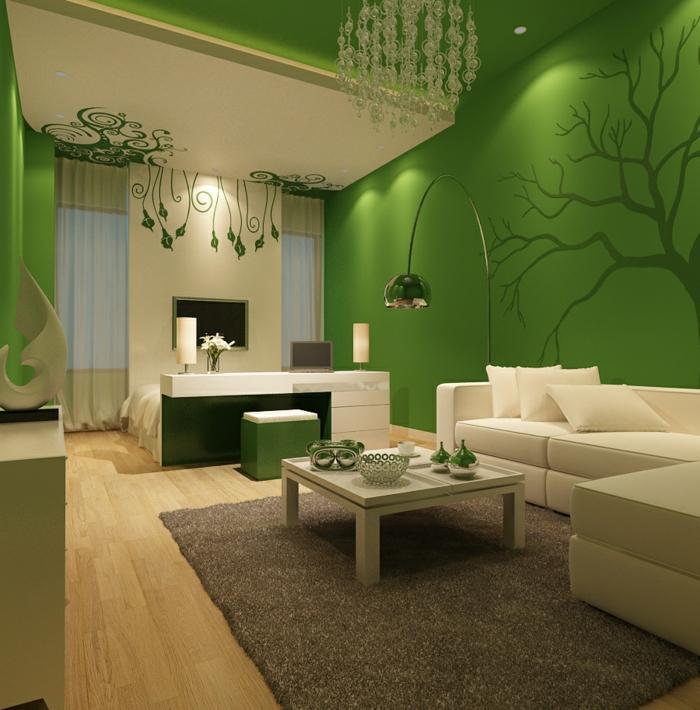 Wohnidee Wohnzimmer - Richten Sie Ihr Wohnzimmer in Grün ein - schone wohnzimmer