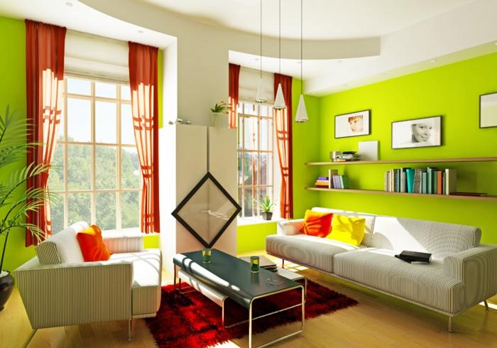 wandgestaltung wohnzimmer orange   hausdesign.paasprovider.com