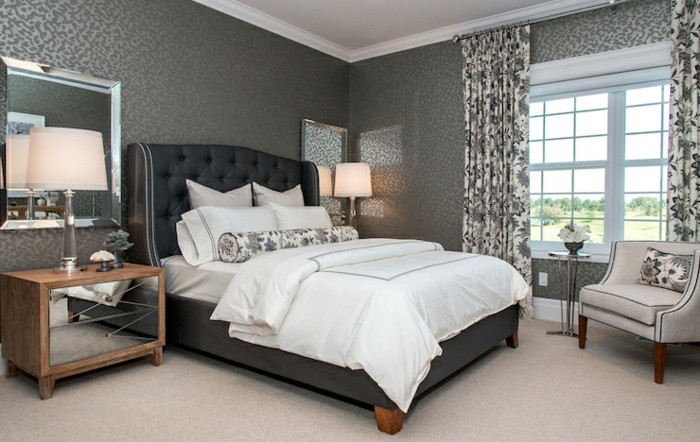 Schlafzimmer Tapete Grau