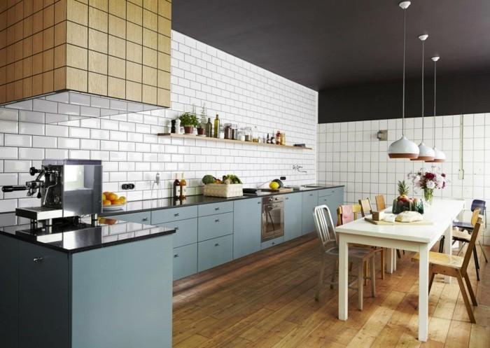 Schwarze Metro Fliesen Küche