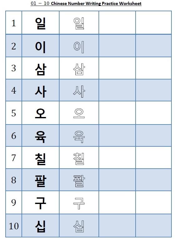 Sino Korean Numbers Writing Worksheet \u2013 1 to 10 \u2013 Fresh Korean