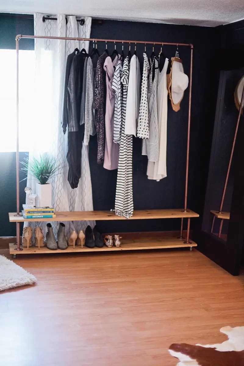 Industrial Clothing Rack Hand Built Industrial Clothing Rack With Shelves