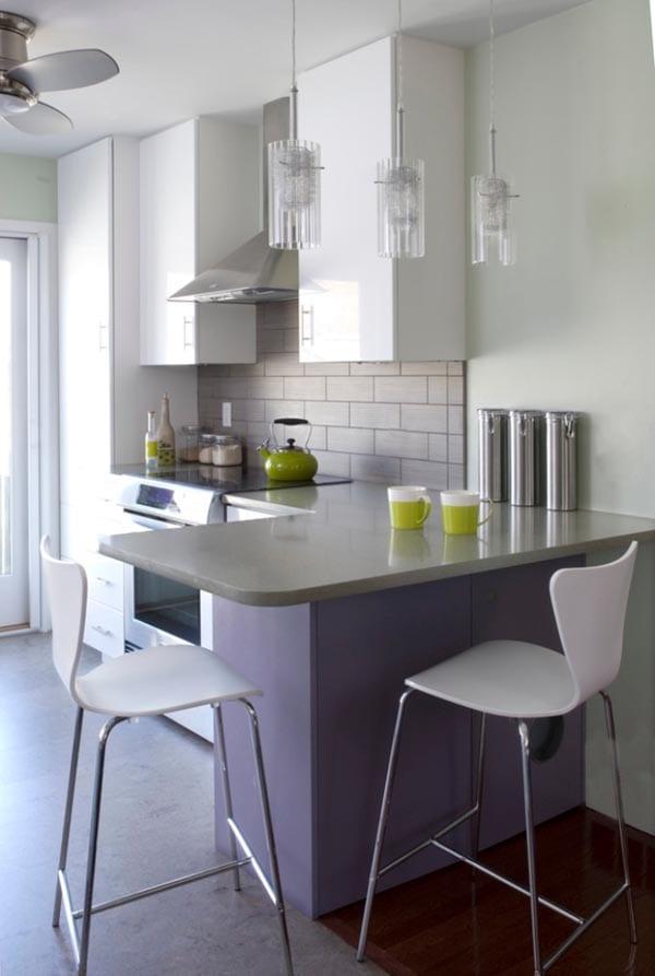 kleine-Küche-mit-eckiger-Thekejpg (600×893) Home Pinterest - kleine küchenzeile ikea
