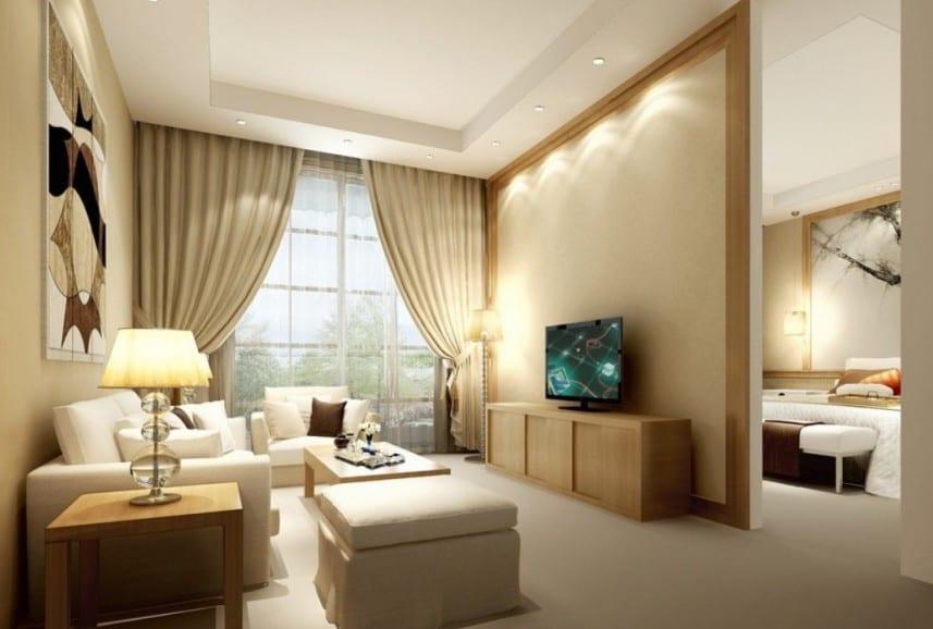 Gardinen wohnzimmer beige