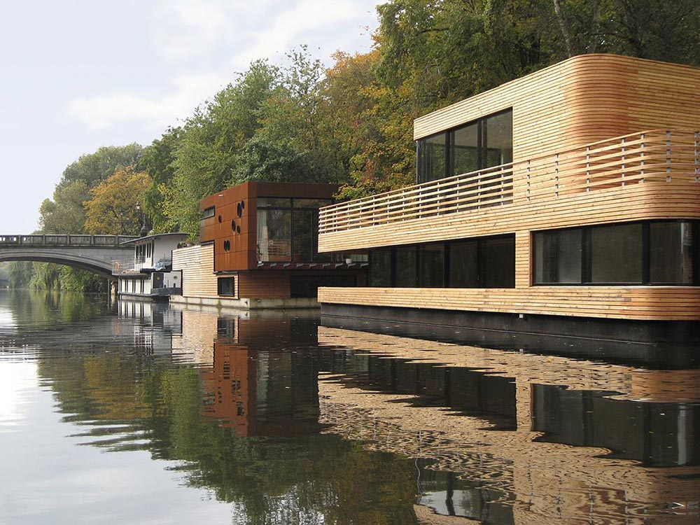 Floating Homes Hamburg Houseboat, Eilbek Canal By Rost Niderehe Architects