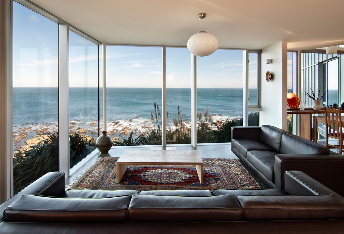 Leather Sofa Wellington Nz Brown Leather Sofa Glass Walls Ocean Views Cliff Top Home With