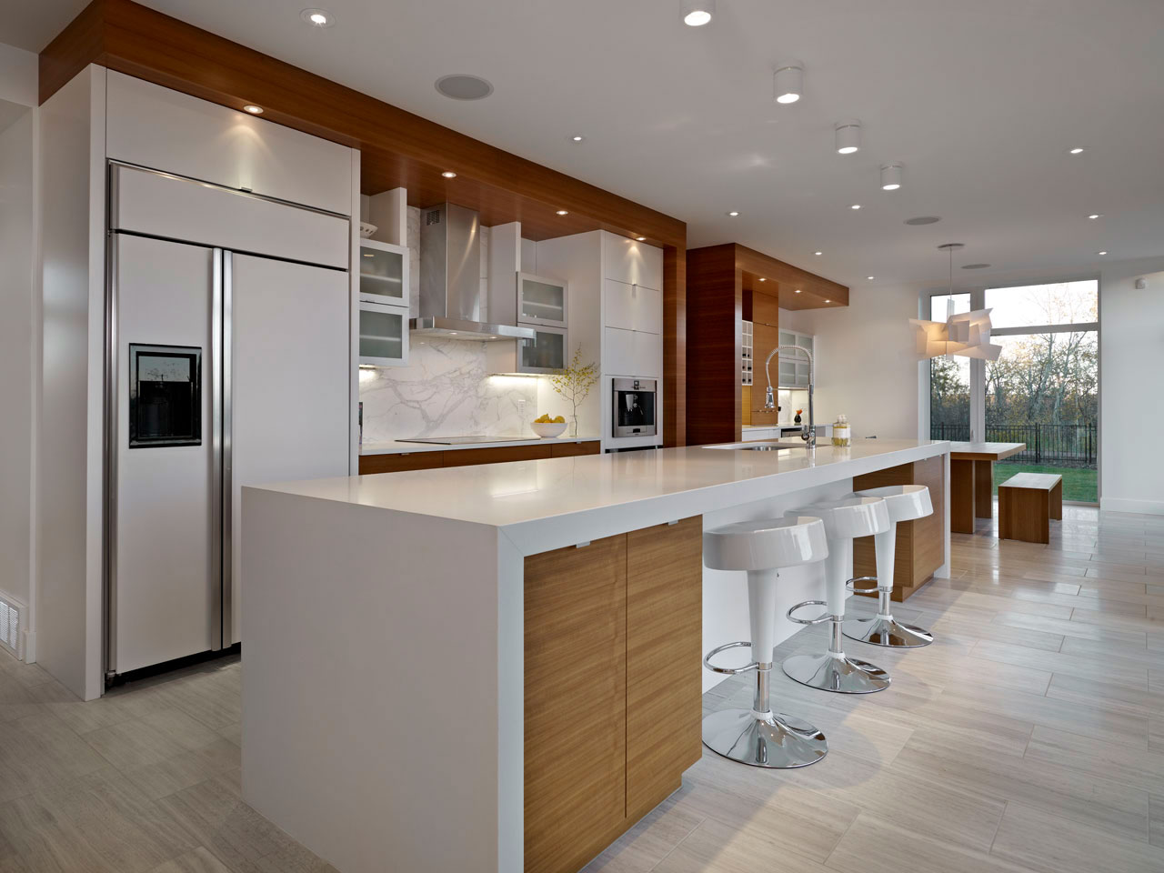 White Kitchen Breakfast Bar Bright Contemporary Home In Edmonton Canada