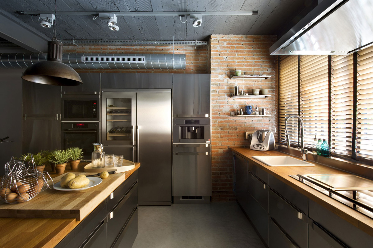 Kitchen Brick Wall Commercial Space Turned Into A Loft Style Home In Terrassa