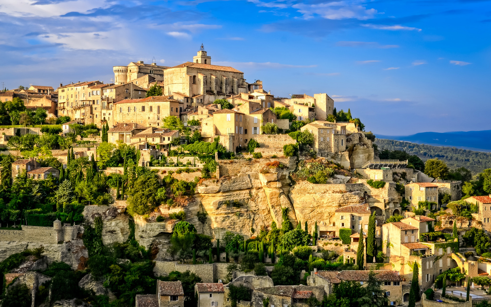 3d Beach Wallpaper For Walls Gordes Old Village Provence Wallpapers