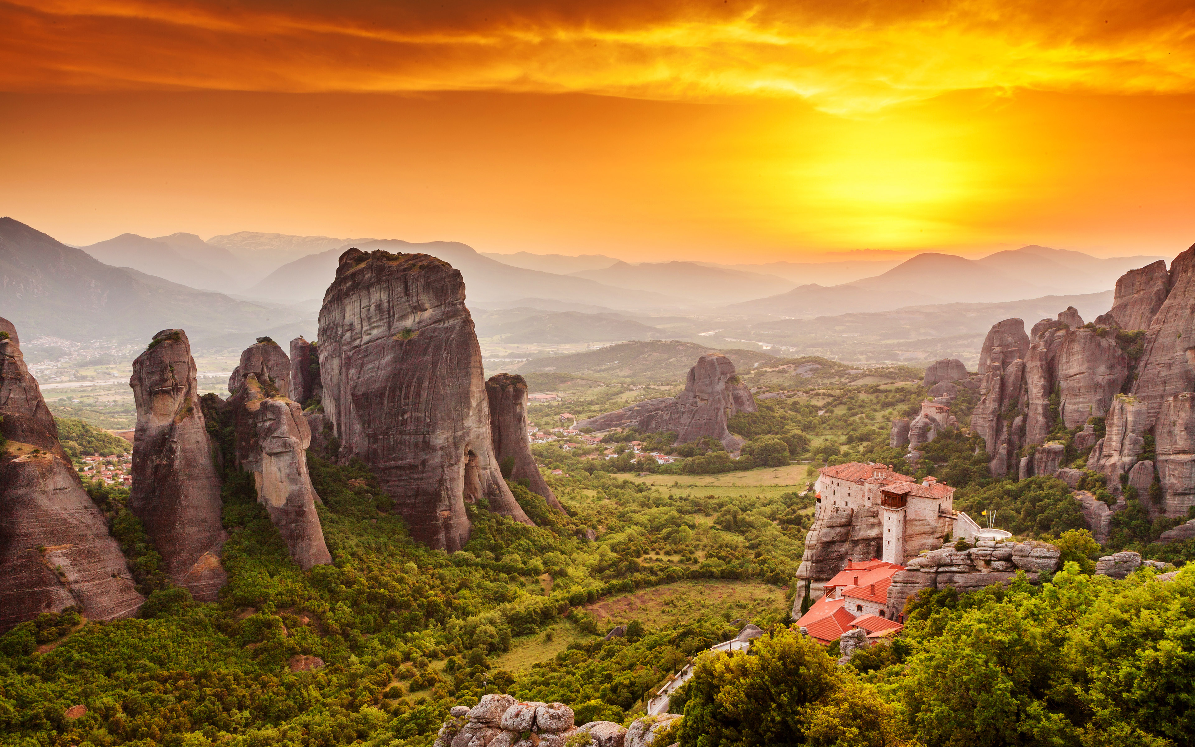 Wallpapers Wide With Quotes Meteora Monastery Sunset Greece Wallpapers
