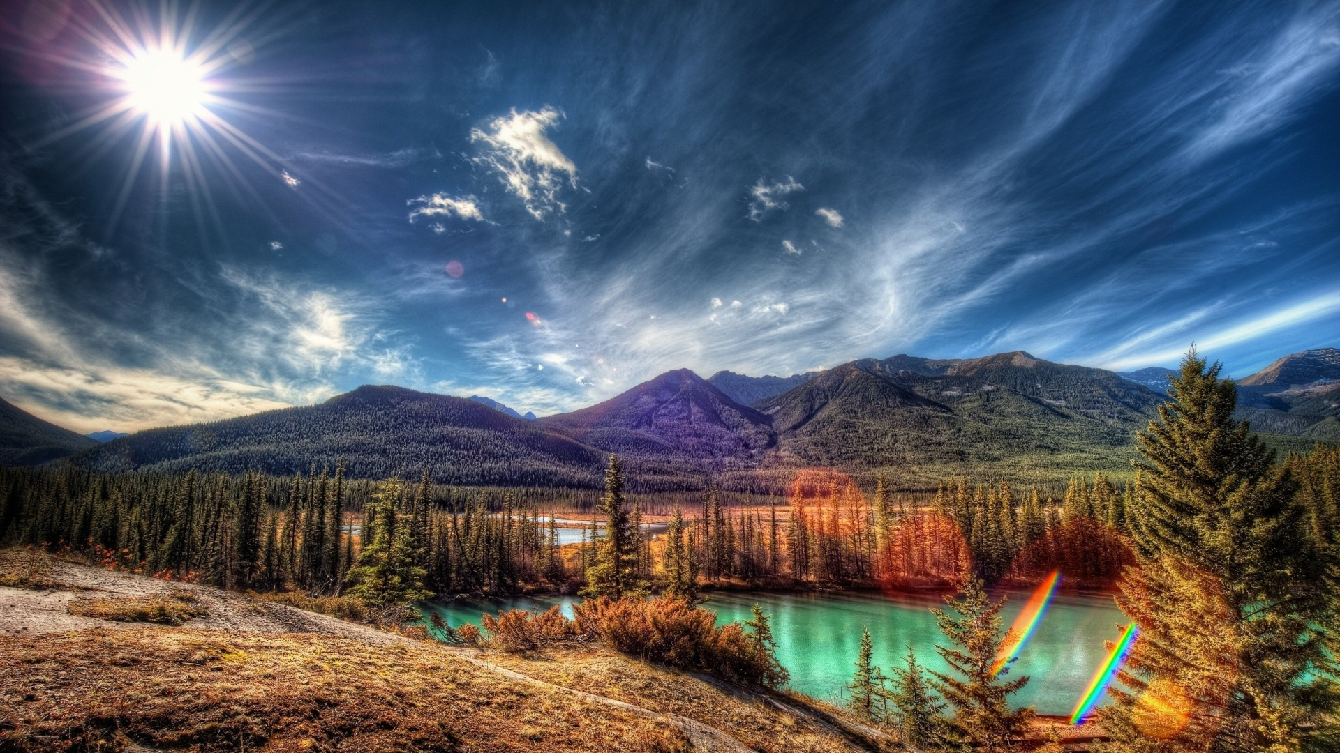 Free Downloads Quotes Wallpaper Mobile Sun Rays Over Amazing Natural Landscape Wallpapers