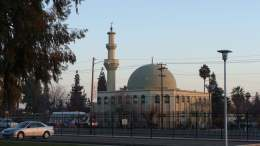 This Mosque is located right across the street from Fresno State. No rally held there.