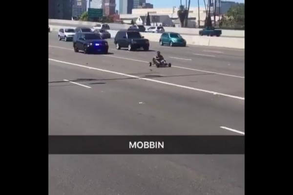 Man-in-go-kart-flees-police-pursuit-on-California-highway