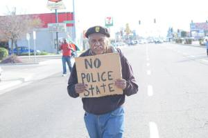 Fresno Brown Berets & Rev. Floyd Harris Marching on Blackstone Ave