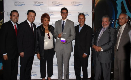 Assemblyman Henry T. Perea (center) of Fresno receives the California Latino Water Coalition's 2013 Water Leadership Award during a Sacramento ceremony. He is the CLWC's Central California Chairman.  With him are (from left) CLWC Vice Chairman Ruben Guerra, Chairman Paul Rodriguez, California NAACP President Alice Hoffman, Assemblyman Perea, his father and Fresno County Supervisor Henry Perea, CLWC Coastal Chairman Tony Estremera; and CLWC Southern California Chairman S.R. (Al) Lopez.