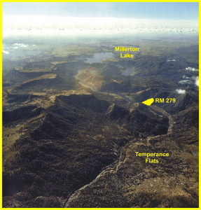 Looking west over the San Joaquin River to the proposed site of Temperance Flat Dam and existing Millerton Lake.