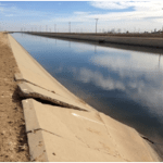Subsidence is suspected of being the culprit in this liner failure along the Delta-Mendota Canal in the western San Joaquin Valley.   U.S. Bureau of Reclamation