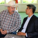 Assemblymen Frank Bigelow (LEFT) and Henry T. Perea discuss the water bond's many issues before a Fresno meeting July 10 during which many suggestions were made on what a recrafted measure should include.