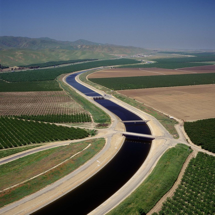 The California Aqueduct, flowing along the West Side through Stanislaus County.