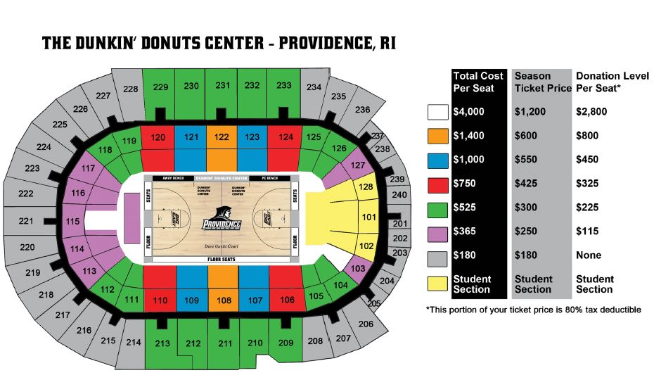 Dunkin Donuts Center Seating Chart With Seat Numbers Wallseat