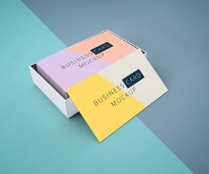Free Business Card Mockup In Cardboard Box