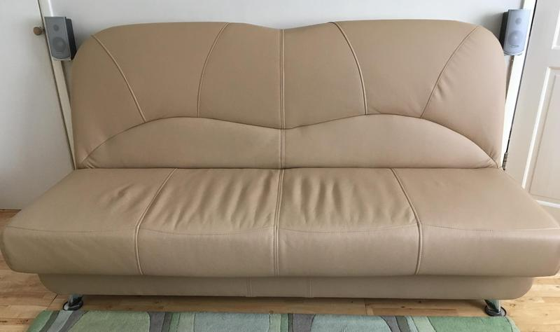 Leather Sofas In Eastbourne Faux Leather Sofa-bed, Beige Color, For Sale - Eastbourne