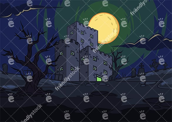 Scary Castle With Lights On In The Night Vector Background